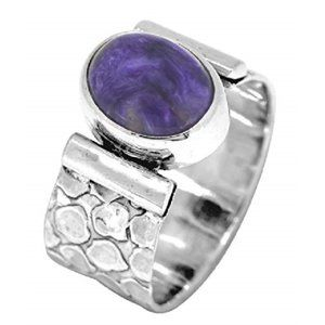 Jewelry - Purple Charoite Sterling Silver Ring NWT